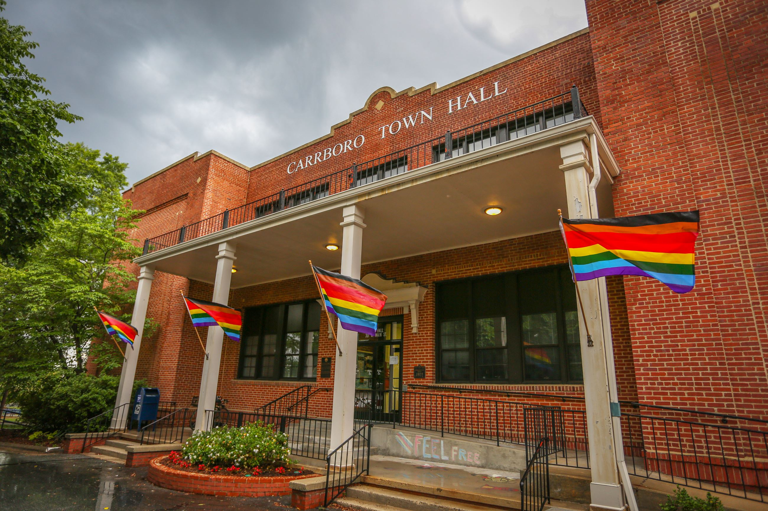 Town Hall Rainbow Flags