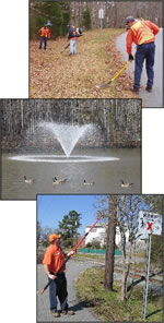 3 pictures of the public works department, featuring leaf removal, a fountain in a pond, and branch